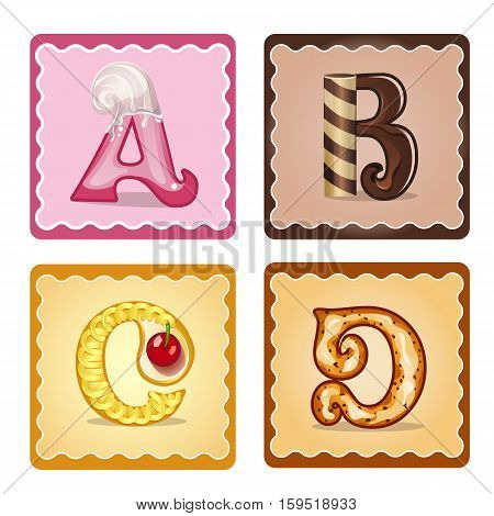 Cards for children for learning the alphabet. Letters ABCD. as chocolate in the form of candies and cakes . Vector Illustration