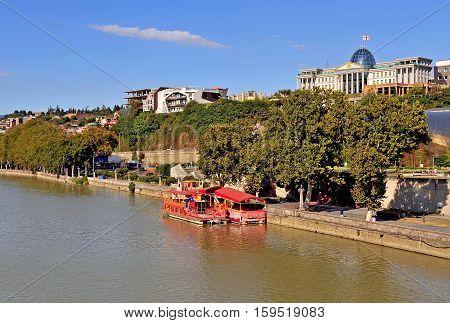 View of riverside of Tbilisi city Georgia