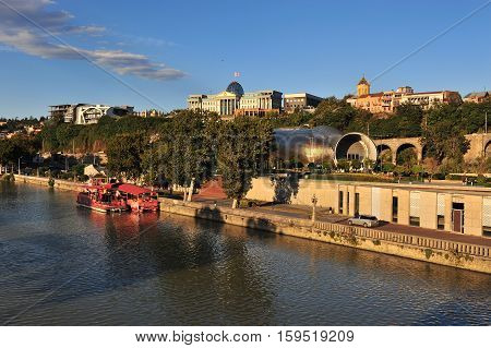TBILISI GEORGIA - SEPTEMBER 27: View of the riverside of Tbilisi city centre Georgia on September 27 2015. Tbilisi is the capital and largest city of Georgia.