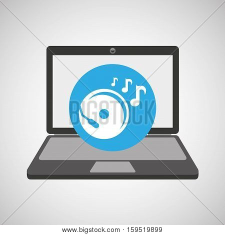 laptop music technology console disk vector illustration eps 10