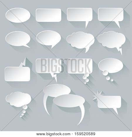 Vector speech bubble set. White speech bubble on grey background with shadows.