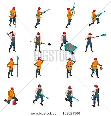 Miner people wearing uniform and holding mining inventory isometric icons set isolated on white background vector illustration