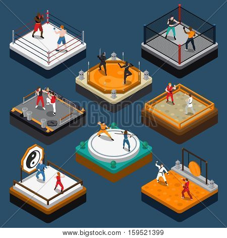 People fighters and martial arts tournaments on various rings and dojo isometric composition isolated on blue background vector illustration