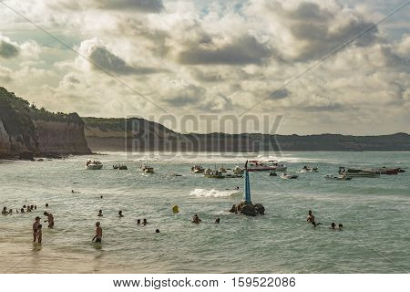 PIPA, BRAZIL, JANUARY - 2016 - Summer scene at the beach in Pipa a touristic watering place located in Brazil South America