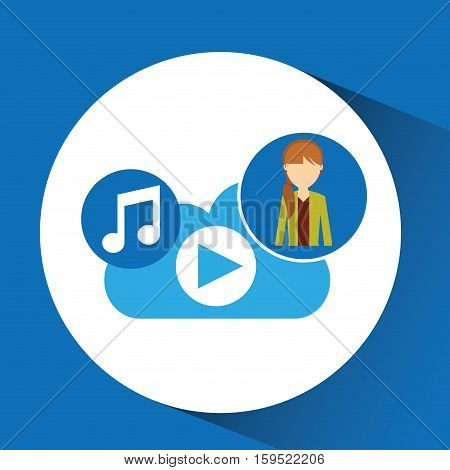 cartoon girl tail hair music cloud app vector illustration eps 10