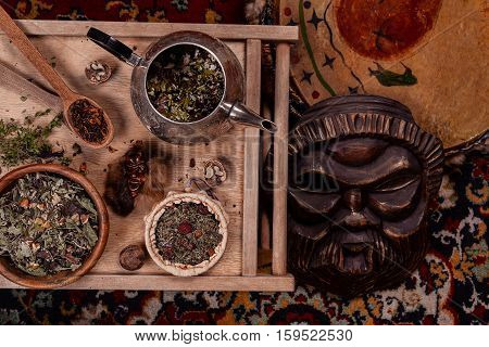 Tea ceremony ethnic traditions view from above