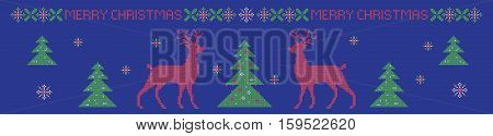 Christmas horizontal banner, cross stitch pattern imitation. Lettering Merry Christmas. Elements are organized by groups.