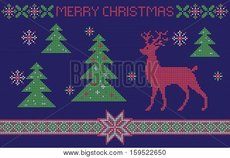 Christmas card, cross-stitch pattern imitation. Lettering Merry Christmas.