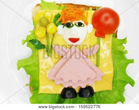 creative sandwich with cheese and salame girl shape