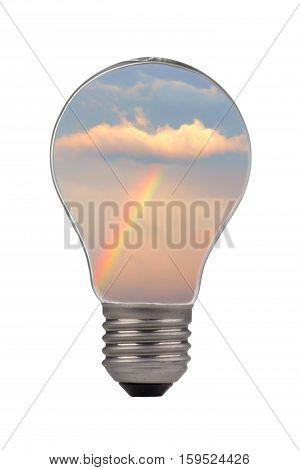 the a bulb rainbow on a white background