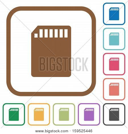SD memory card simple icons in color rounded square frames on white background