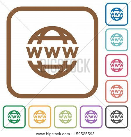 WWW globe simple icons in color rounded square frames on white background