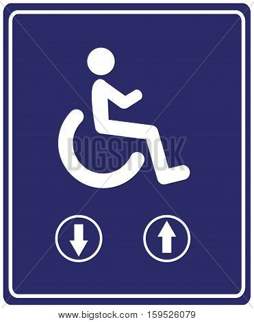 Elevator for Wheelchair User. Sign for people with mobility problems to use escalator instead of stairs