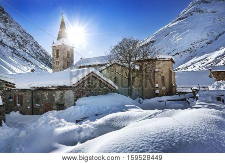 Old village Bonneval-sur-Arc in winter Savoie Vanoise France