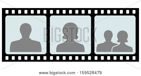 couple of the concept film for the camera negative, with silhouettes of men women and couples after a wedding, vector slide