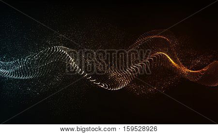 Vector abstract background. Dynamic wave flow, with blurred  light effect.