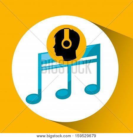 head silhouette listening music quaver vector illustration eps 10