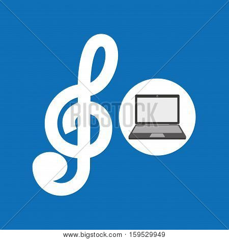laptop music technology clef note vector illustration eps 10