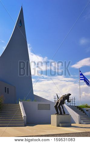 Greece - Sept 27 2016: War memorial in central Greece in memory of the greek soldiers defenders who was killed by enemy during the Second World. War Monument Ypsoma 731