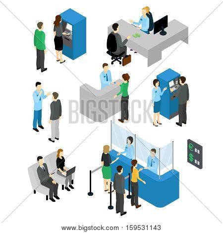 People in bank isometric set with employees and clients atm machine and currency exchange isolated vector illustration