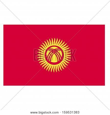 Flag of Kyrgyzstan on a white background