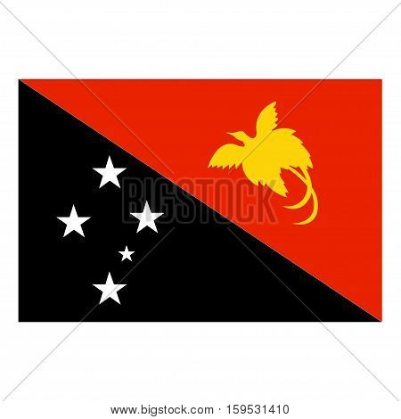 Flag of Papua New Guinea on a white background