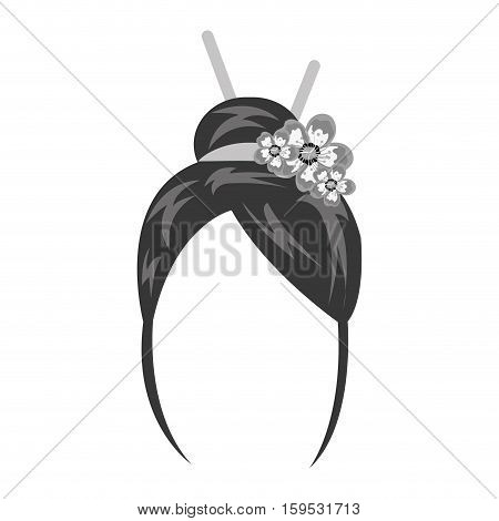 geisha wig hair style icon vector illustration design