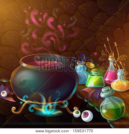 Magic Bottles of potion composition with large pot and ingredients for potion around vector illustration