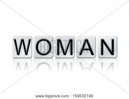 Woman Isolated Tiled Letters Concept And Theme