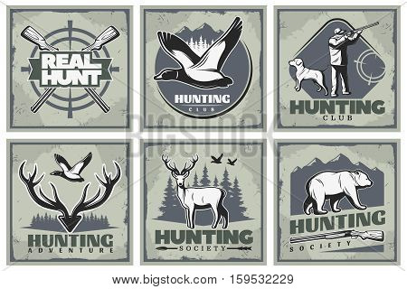 Six square hunting posters set with retro style images of wild nature fauna hunter fowling piece vector illustration