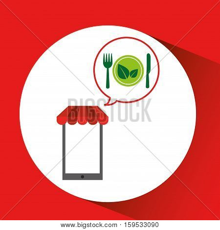 mobile phone shopping organic food vegetarian cusine vector illustration eps 10