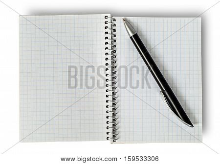 Open notepad and ballpen isolated on white background