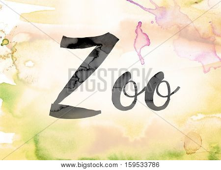 Zoo Colorful Watercolor And Ink Word Art