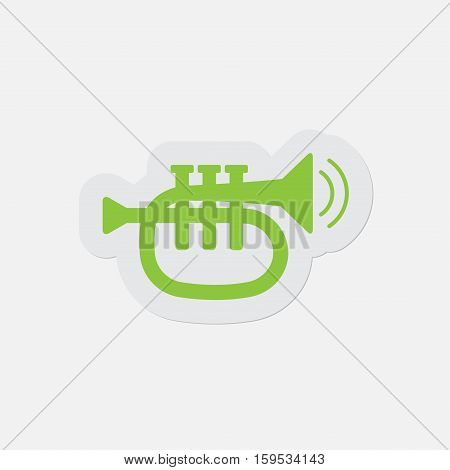 simple green icon with light gray contour and shadow - trumpet sound and two vibration waves on a white background