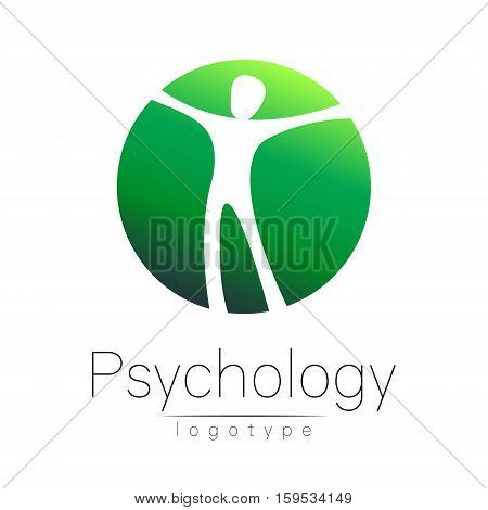 Modern head logo of Psychology. Human in a circle . Creative style. Logotype in vector. Design concept. Brand company. Green color isolated on white background. Symbol for web, print, card. Keyhole