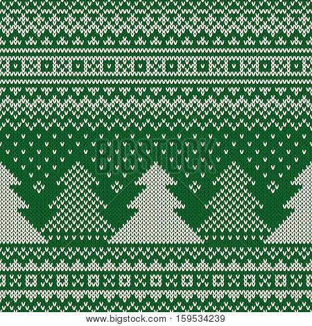 Winter Holiday Seamless Knitting Pattern With A Christmas Trees And Snowflakes. Knitted Sweater Desi