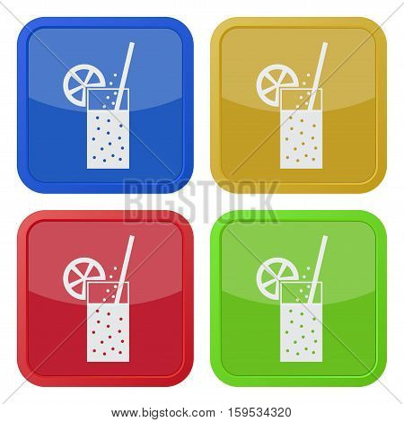 Set of four square colored buttons and icons. Glass with carbonated drink straw and citrus.