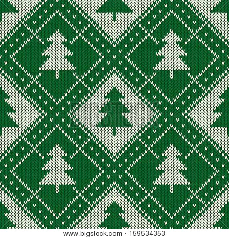 Winter Holiday Seamless Knitting Pattern With A Christmas Trees. Knitting Sweater Design. Wool Knitt