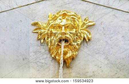 Gilded decorative fountain head.  Peterhof, St Petersburg, Russia