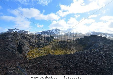 Moss covered lava rock in Eldborg Crater on Snaefellsnes Peninsula in Iceland.
