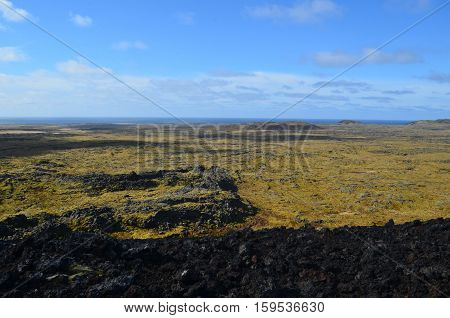 Amazing landscape in Iceland with a lava field as far as the eye can see!