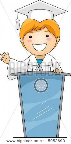 Illustration of a Kid Giving a Speech