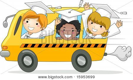 Illustration of Kids Driving Away in a School Bus