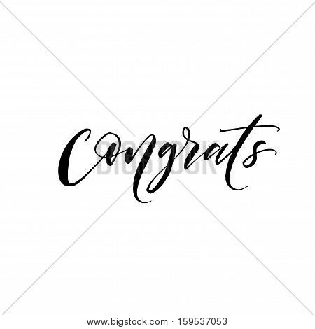 Congrats hand drawn phrase. Ink illustration. Modern brush calligraphy. Isolated on white background.