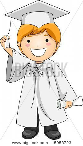 Illustration of a Kid Holding the Tassle of His Cap