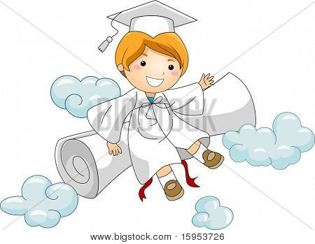 Illustration of a Kid Resting Against His Diploma