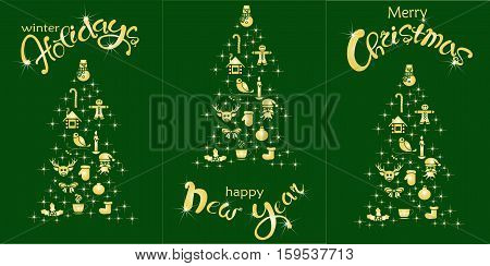 Set of postcard Happy Holidays, Happy New Year, Christmas holiday. Gold lettering and stylized Christmas tree on green, stock vector illustration