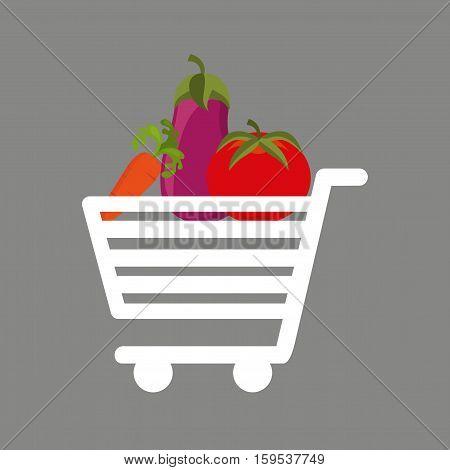 shopping cart fresh vegetales food vector illustration eps 10