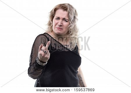 Blond wicked woman showing middle finger on white background