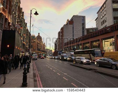 LONDON - NOVEMBER 30: Facing West along Brompton Road, Knightsbridge on November 30, 2016 in London, UK.